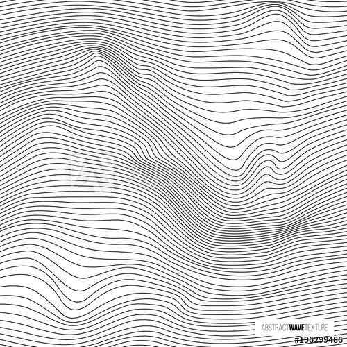 500x500 Abstract Wave Texture. Vector Black Line Wavy Pattern.
