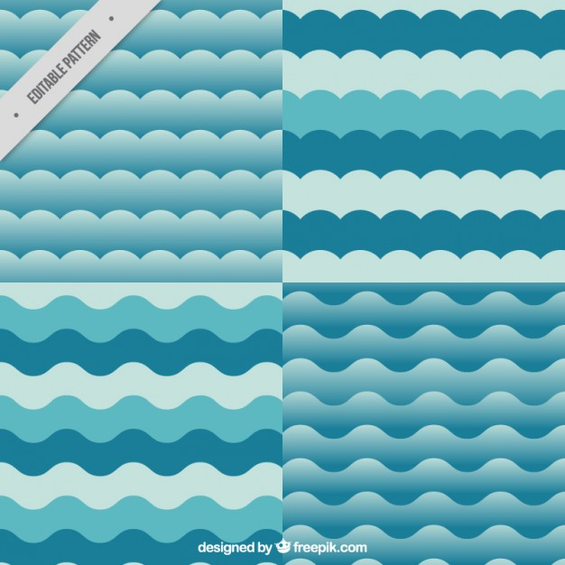 626x626 Variety Of Wavy Patterns In Blue Color Vector Premium Download
