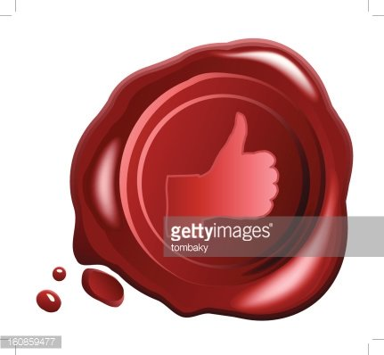 431x398 Red Wax Seal Vector With Hand Ok Sign Premium Clipart