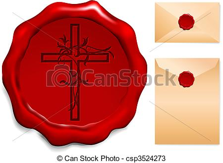 450x329 Cross On Wax Seal Origianl Vector Illustration Wax Seal... Vectors