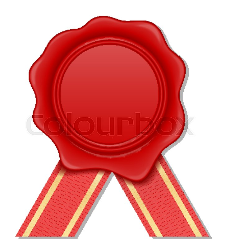 724x800 Red Wax Stamp Vector Illustration Isolated On White Background
