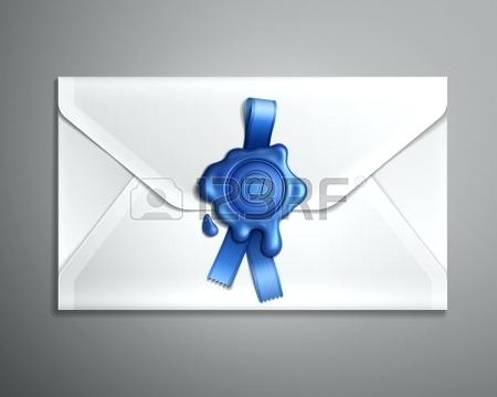 450x360 Wax Seal Envelope Realistic Image Of E Mail Envelope With Blue