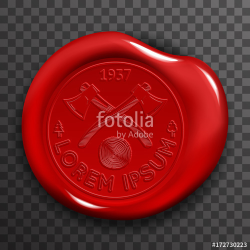 500x500 Wax Seal Stamp Red Certificate Sign Transparent Background Mockup
