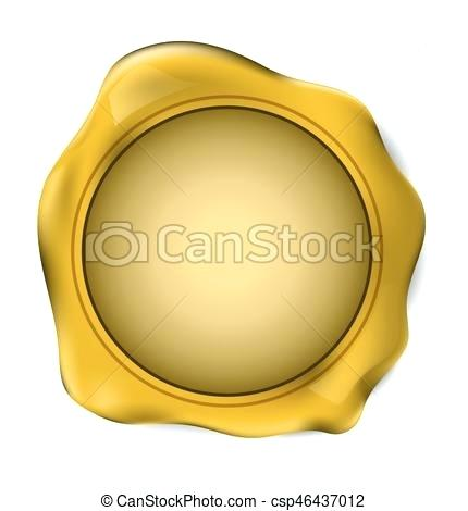 430x470 Gold Wax Gold Wax Seal Stamp Vector Illustration Rose Gold