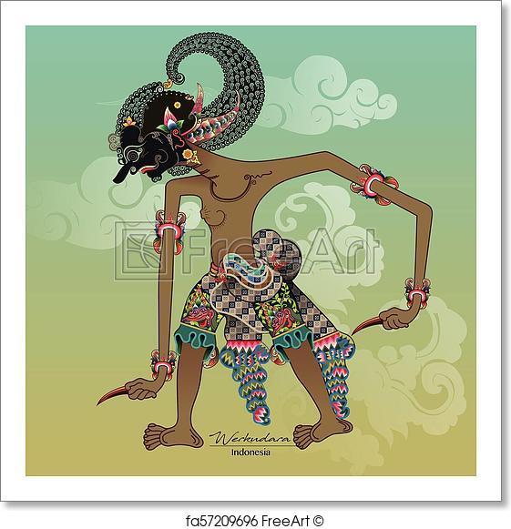 561x581 Free Art Print Of Wayang Vector, Werkudara Or Bima. Vector