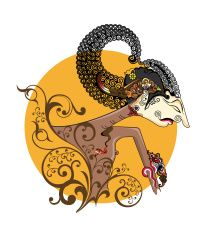 206x235 Arjuna Puppet Characters In Floral Style Vector Art Illustration