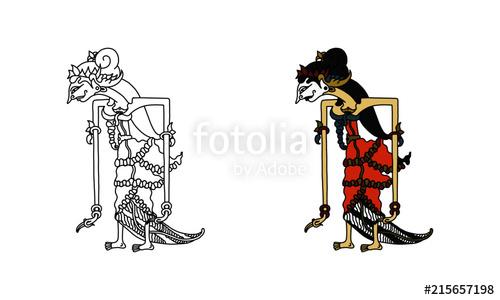 500x300 Wayang Kulit Sinta (Outline And Black) Stock Image And Royalty