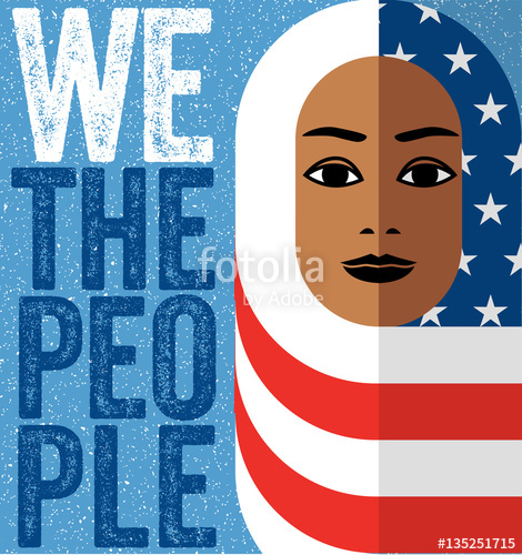 470x500 Muslim Woman Wearing Hijab Of The American Flag, In Symbolic