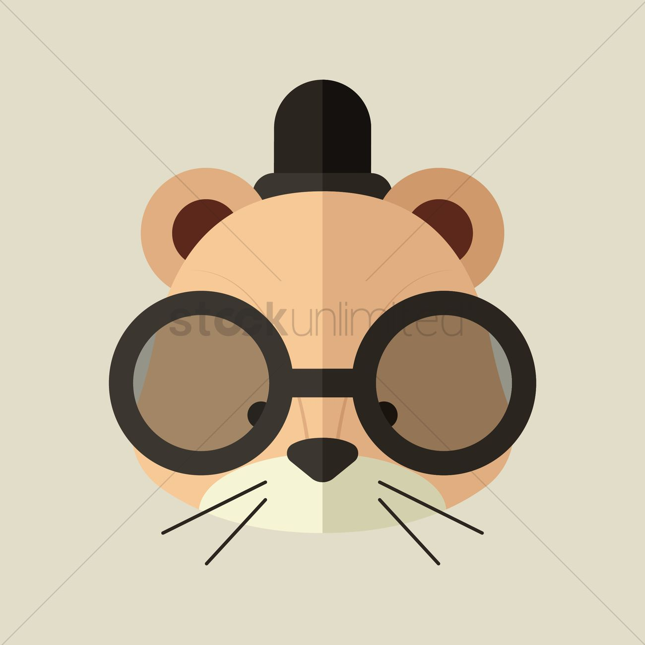 1300x1300 Free Weasel Wearing Glasses Vector Image