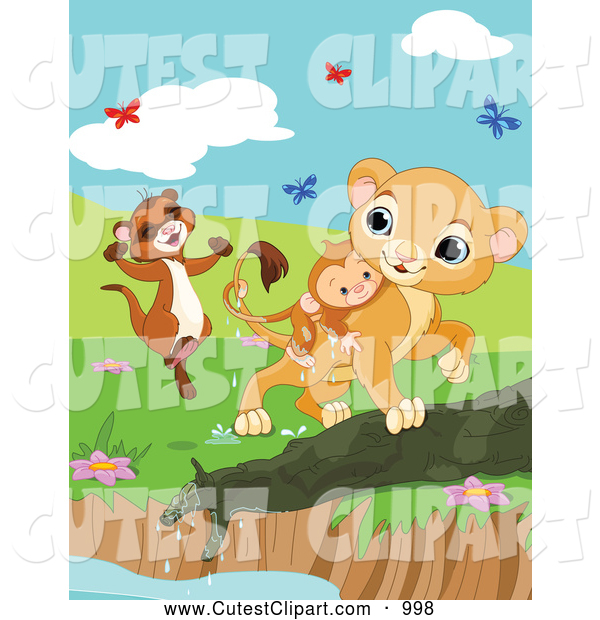 600x620 Vector Clip Art Of A Cute Weasel And Lion Saving A Drowning Monkey