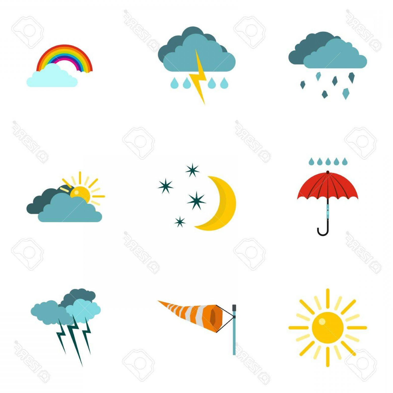 1560x1560 Photostock Vector Kinds Of Weather Icons Set Flat Illustration Of