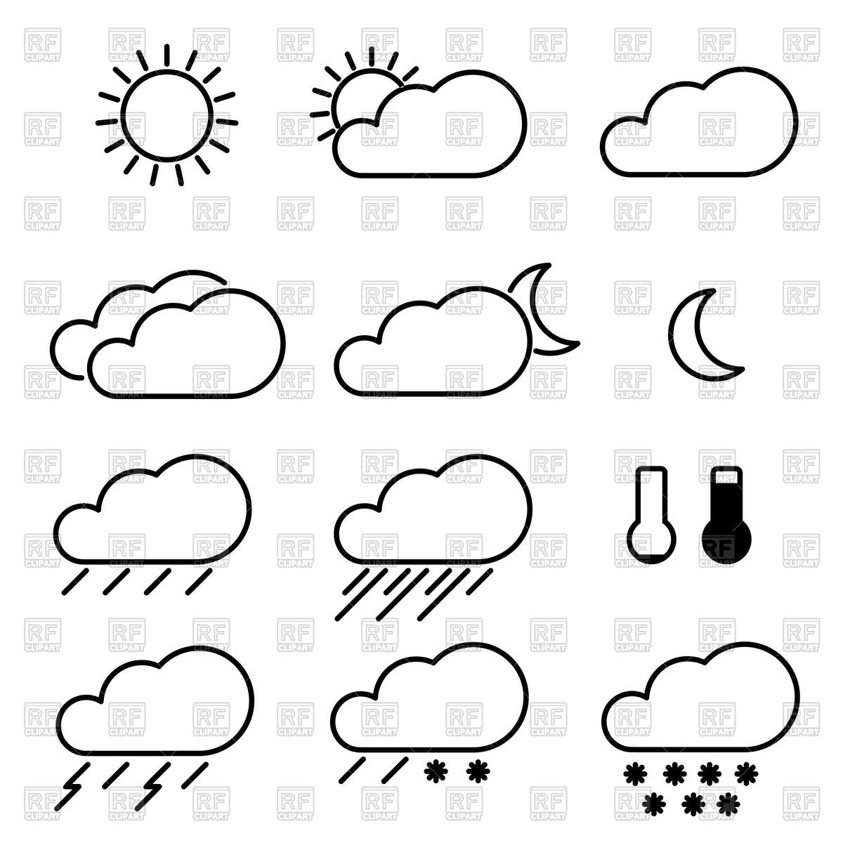 1200x1200 Simple Sketchy Weather Icons Vector Image Vector Artwork Of
