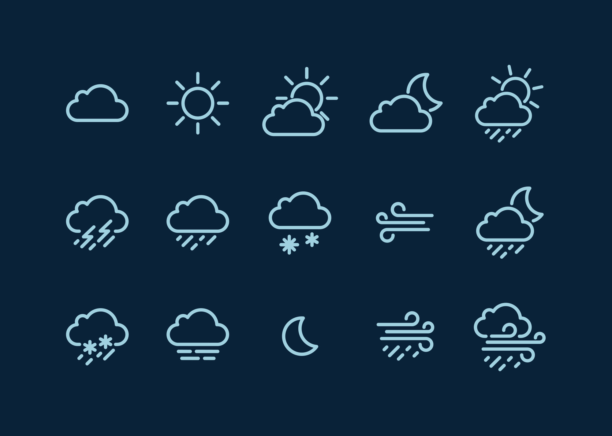 2000x1426 15 Free Weather Icons (Vector)