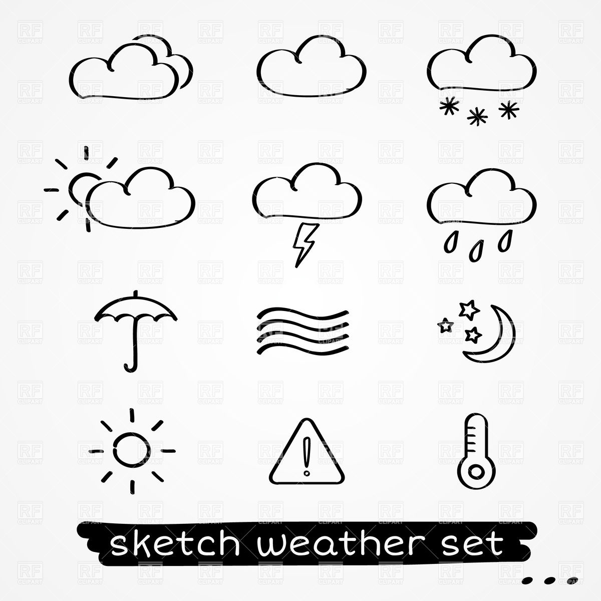 1200x1200 Sketchy Style Simple Forecast Weather Icons Vector Image Vector