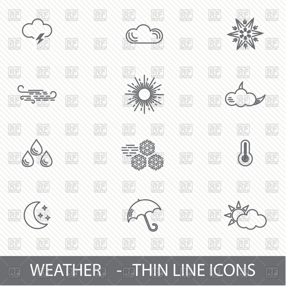 1200x1200 Thin Line Weather Icons Vector Image Vector Artwork Of Icons And