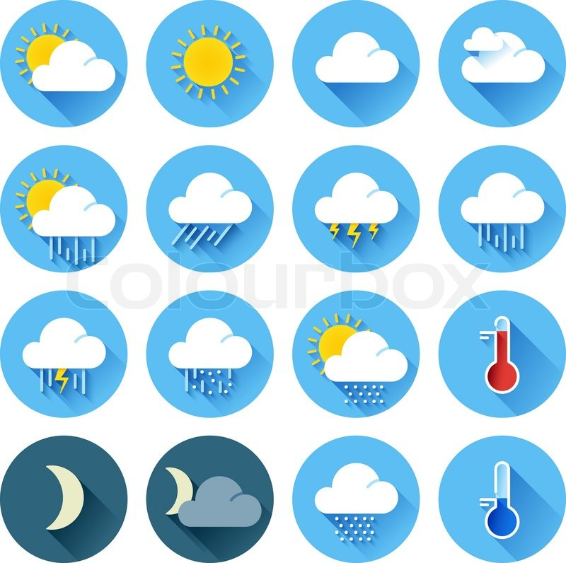 800x796 Vector Illustration Of Flat Color Weather Icons With Long Shadow