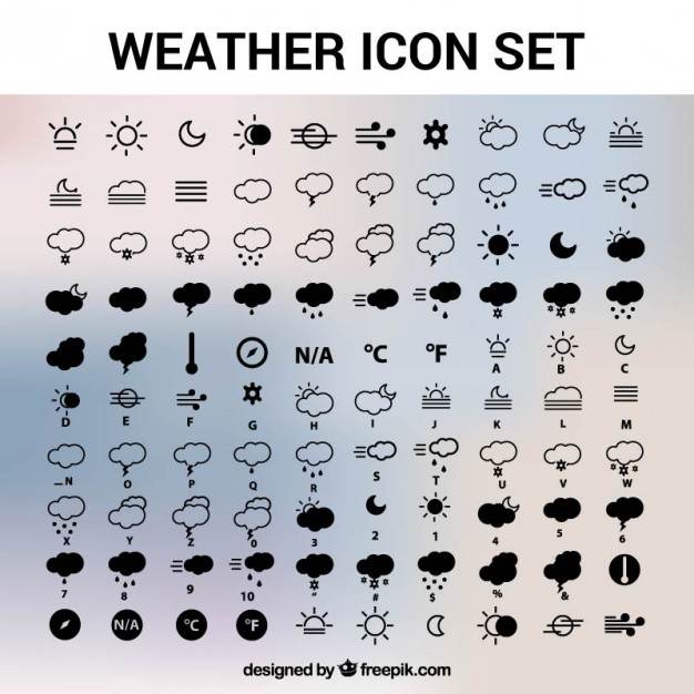 626x626 Weather Icons Set Vector Free Download