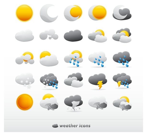 614x570 Cute Vector Weather Icons