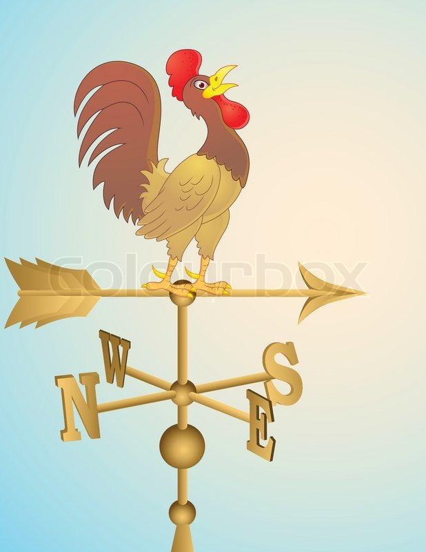 618x800 Rooster Cartoon Weather Vane Stock Vector Colourbox