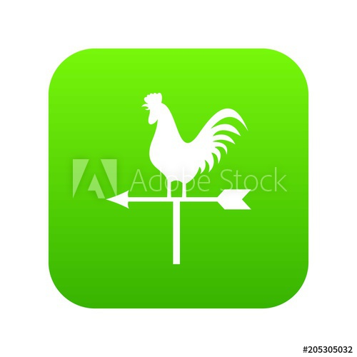 500x500 Weather Vane With Cock Icon Digital Green For Any Design Isolated