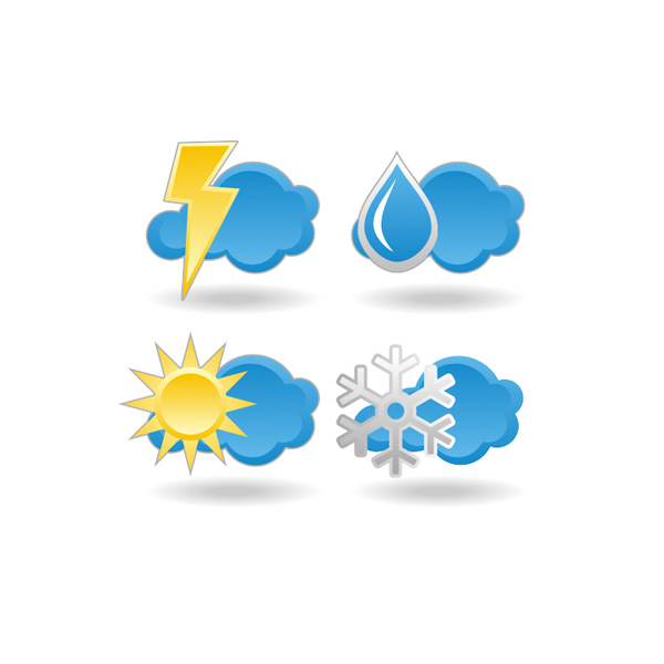 600x600 4 Weather Forecast Vector Icons Set