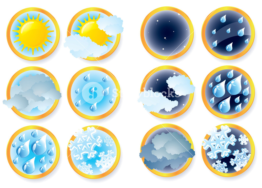 1000x718 Climate And Weather Vector Icons. Royalty Free Stock Image