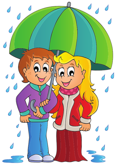 389x550 Couple On A Rainy Weather Vector