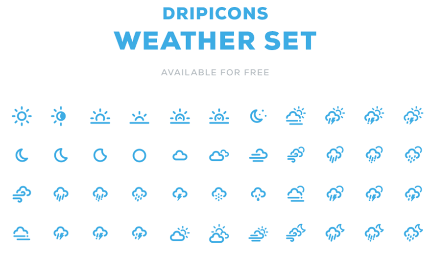 880x520 Dripicons Weather Free Weather Vector Icon Set