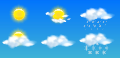 500x241 Sun With Cloud And Weather Vector Free Download