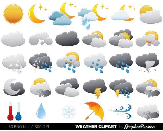 570x459 Weather Clipart Clip Art Vectors Weather Digital Images Etsy
