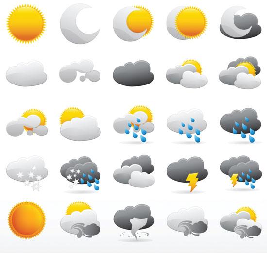 550x521 Weather Vector Elements Design