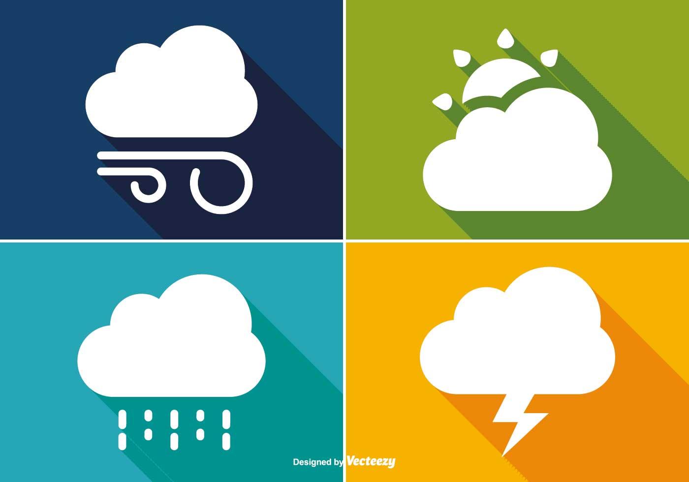 1400x980 Basic Long Shadow Style Weather Icon Set