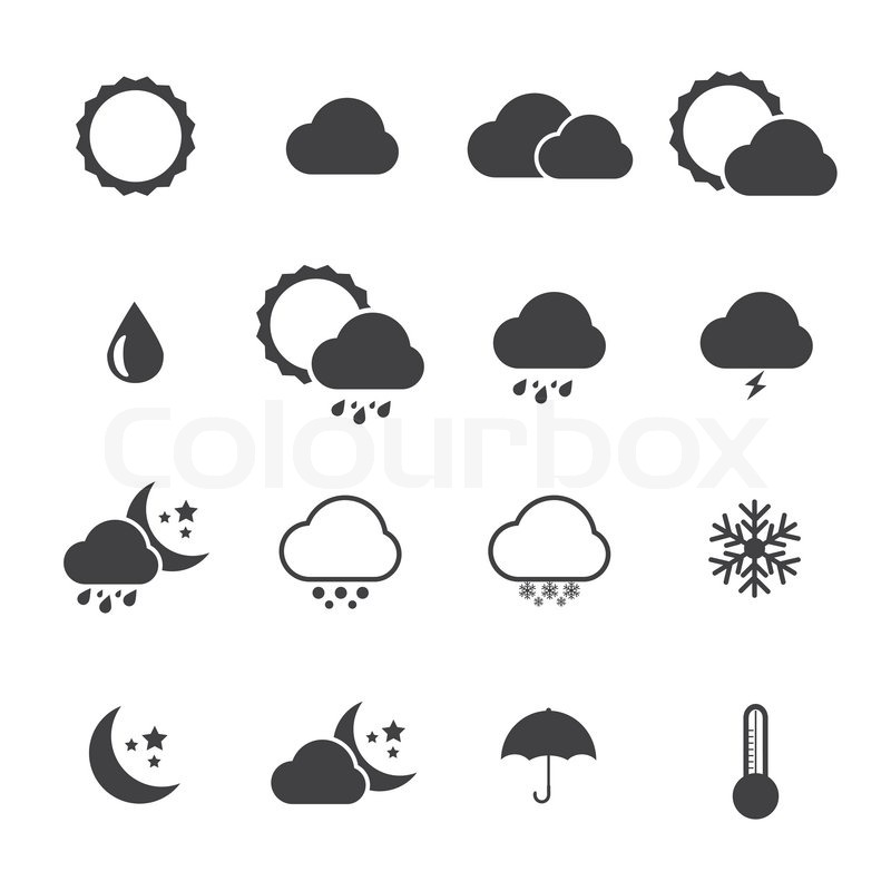 800x800 Black And White Icon Set Of Weather.vector Eps 10 Stock Vector