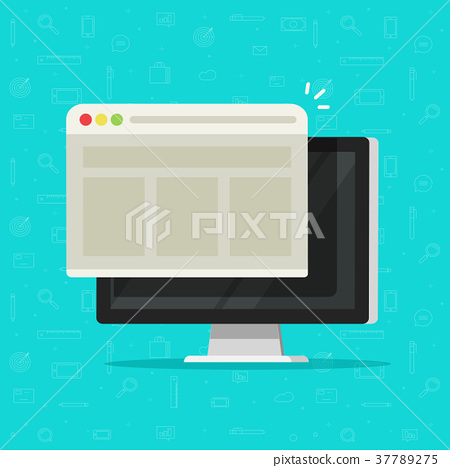 450x468 Web Browser Window On Computer Display Vector