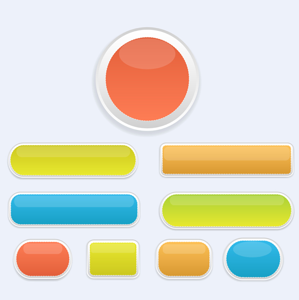 600x601 Glossy Buttons Vectors Free Download