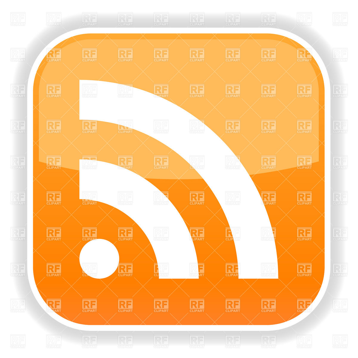 1200x1200 Orange Rss Web Button Vector Image Vector Artwork Of Signs