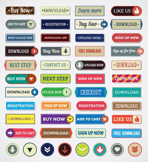 500x547 Vintage Flat Web Buttons Vectors Set Free Download