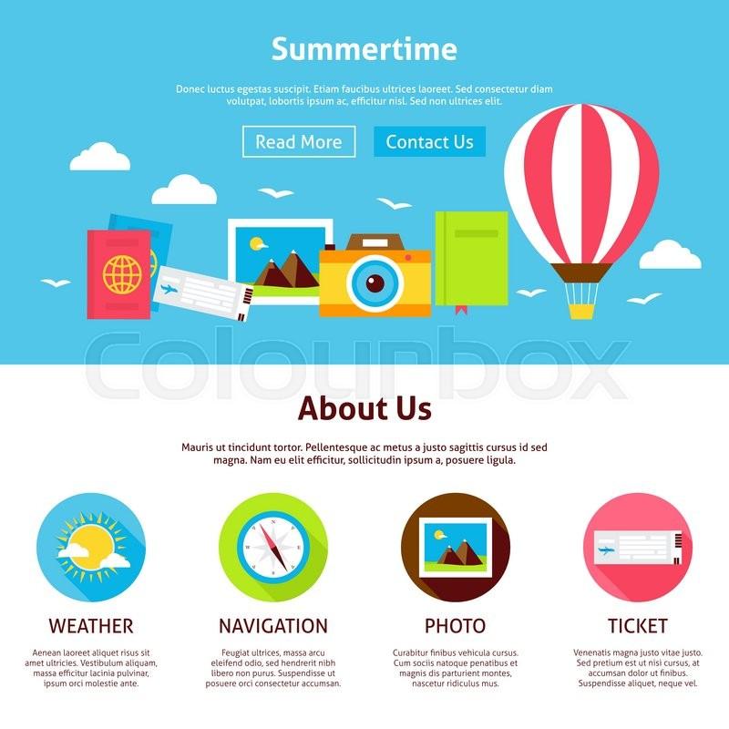 800x800 Summertime Flat Web Design Template. Vector Illustration For