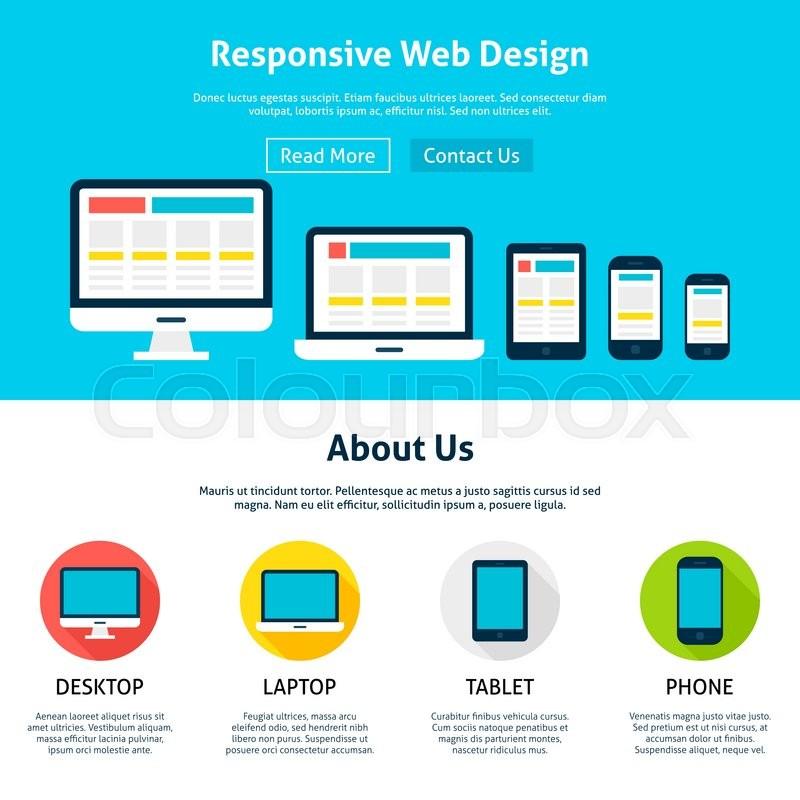 800x800 Responsive Flat Web Design Template. Vector Illustration For