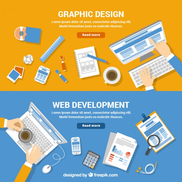 626x626 Web Development And Graphic Design Banners Vector Free Download