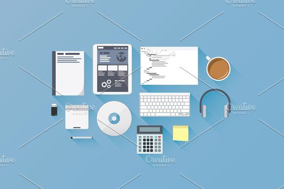 580x386 Web Development Flat Vector Icons By Infographic Template Shop On