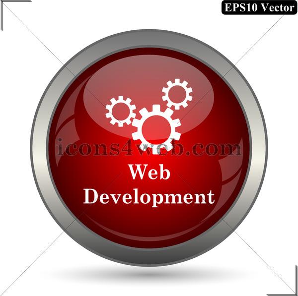 600x597 Web Development Vector Icon. Web Development Vector Button. Eps10