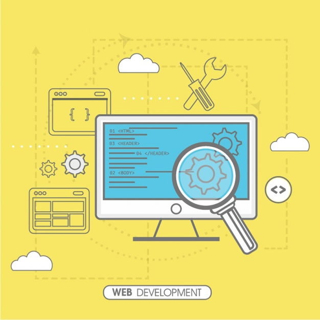 626x626 Yellow Background Of Web Development Vector Premium Download
