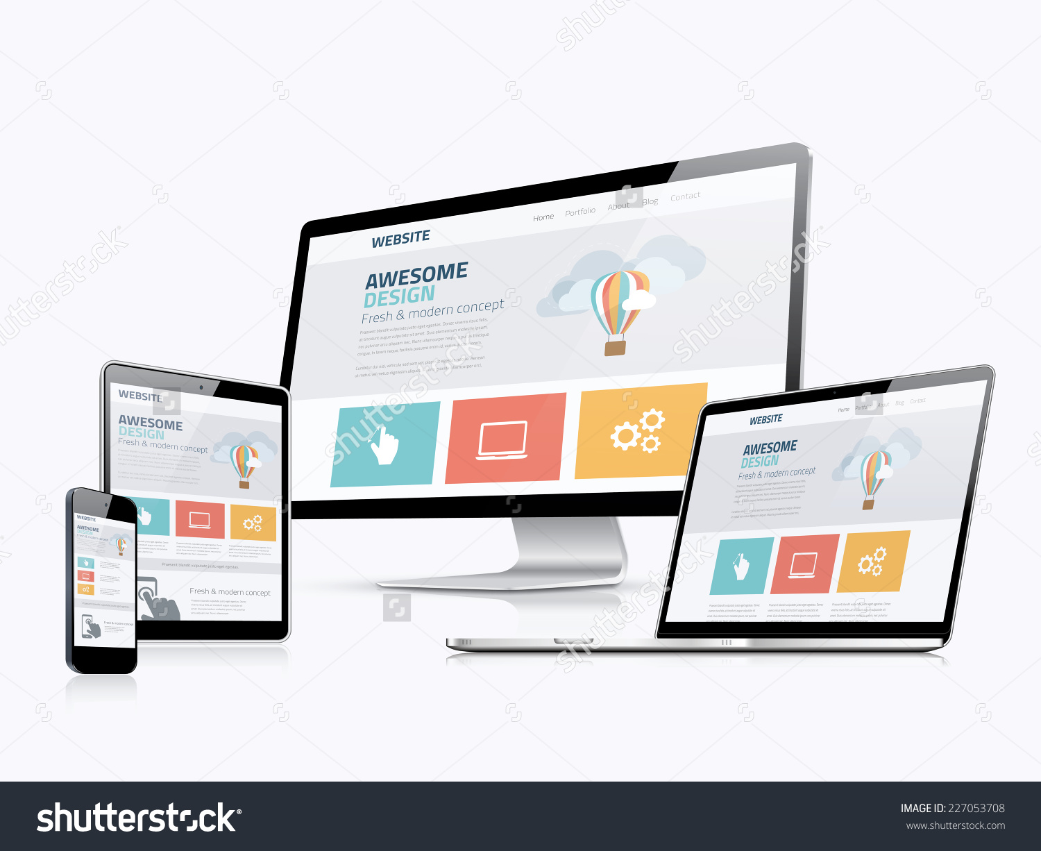 1500x1226 Stock Vector Flat Responsive Web Design Concept Website