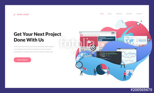 500x301 Creative Website Template Design. Vector Illustration Concept Of