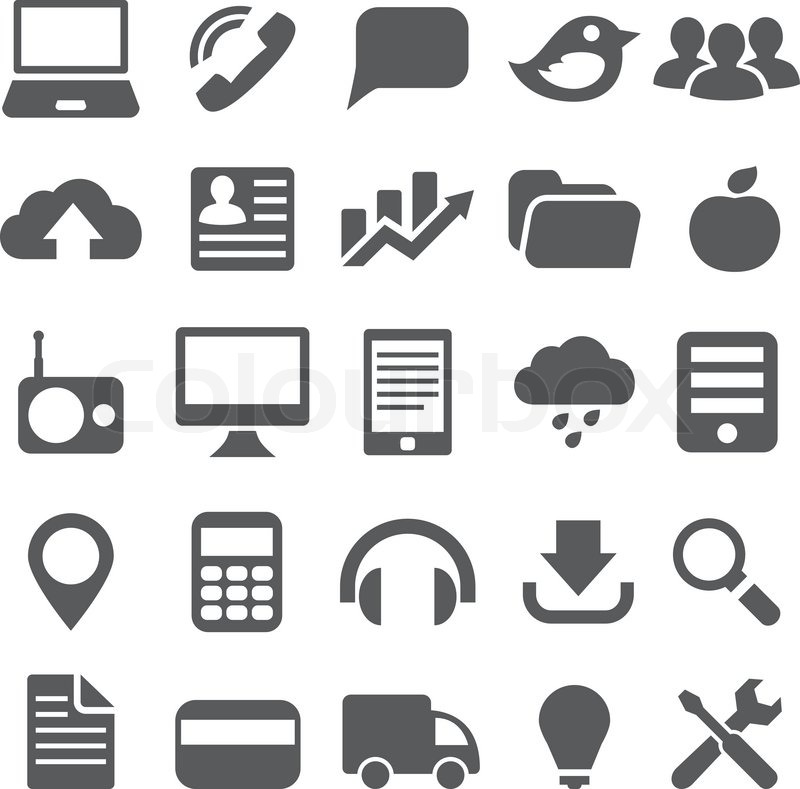 800x789 Set Gray Simple Icons For Web Design Stock Vector Colourbox