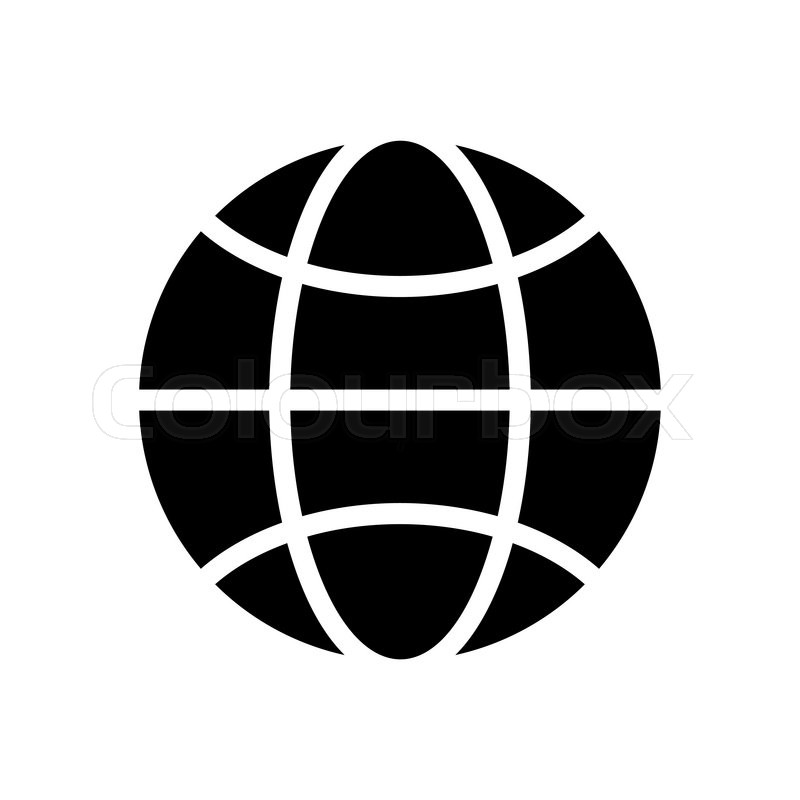 800x800 Vector Black And White Globe Icon. Global Design Concept. Globe