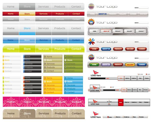 600x477 Web Navigation Bar Menu Design Vector [Eps]