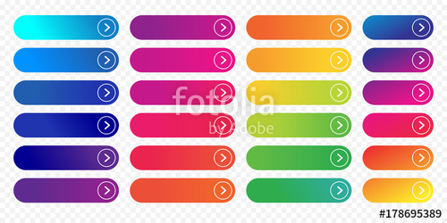 500x250 Web Buttons Flat Design Template With Color Gradient And Thin Line