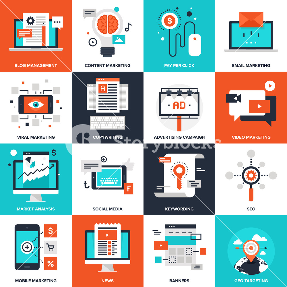 1000x1000 Abstract Vector Collection Of Flat Digital Marketing Icons